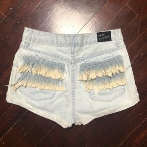 Neon Blond Free People Tassel Pockets Shorts